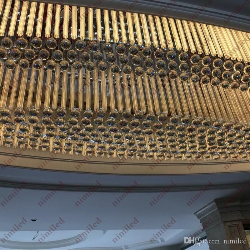 nimi818 Oval Engineering Lampada a sospensione grande K9 Soffitto di cristallo Illuminazione a LED Reparto vendite luci Hotel Lobby Showroom Club Chandelier