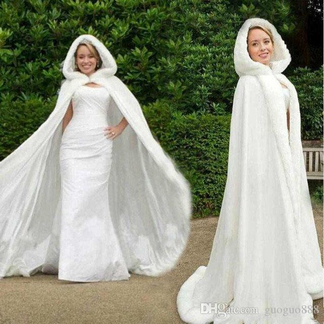 Fall Winter White Wedding Cloak Cape Hooded with Fur Trim Long Bridal Jacket Custom Bridal Accessories