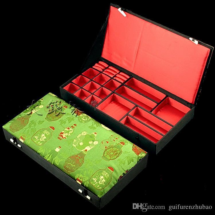 بوتيك خشبي ديكور والمجوهرات مجموعة هدية مربع للقلادة سوار حلق حلقة التخزين حالة صناديق تغليف الحرير الصينية الديباج