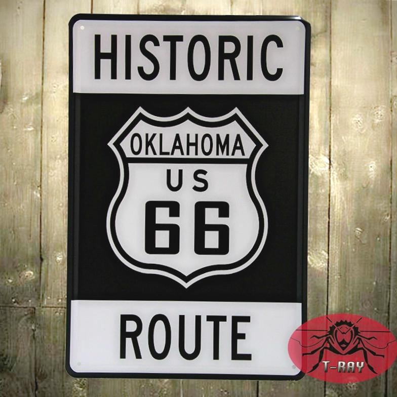 The Us Historic Route 66 Tin Plate Wall Decor House Garage Vintage