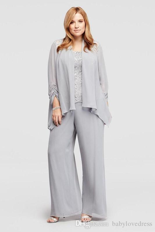 2d95fcdd02f 2018 Thress Pieces Plus Size Mother Of The Bride Pant Suits Lace Top Chiffon  Long Mother Dresses With Jacket J0an Rivers Joan Joan Rivers From  Babylovedress ...