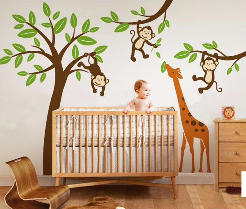 Monkeys Hanging On Tree With Giraffe Wall DecalNursery Tree Wall - Kids tree wall decals