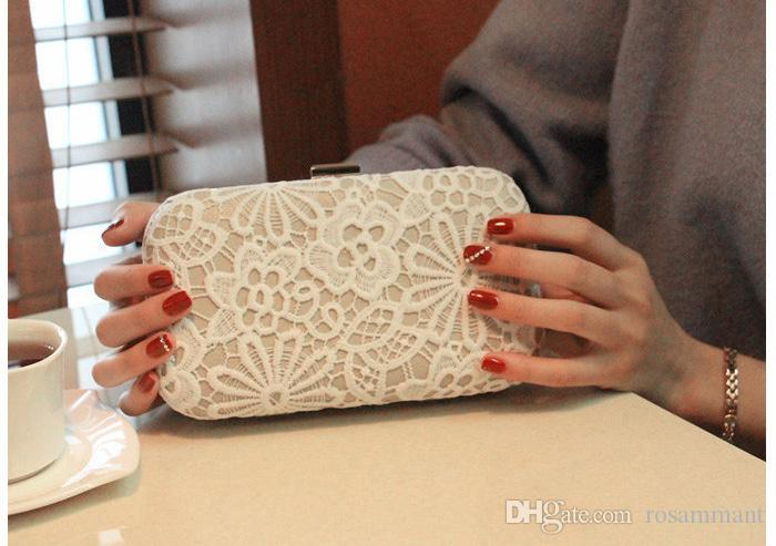 Lace Bridal Hand Bags 2019 Style Fashion Lace Flower Women Clutch Bags For Party Evenings Formal Handbags