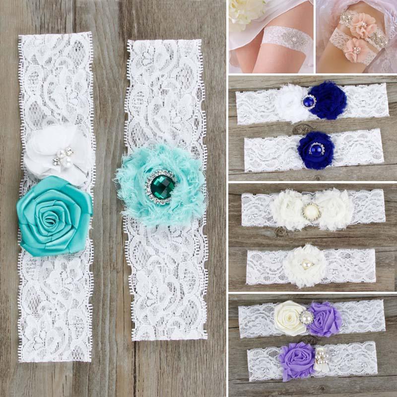 Venda quente Encantador 2 Pçs / set Bonita Flor de Renda Elastic Noiva Nupcial Meia Garter Acessórios de Vestuário de Casamento