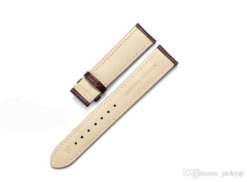 하이 엔드 브랜드 시계 밴드 블랙 브라운 스트랩 푸시 버튼 숨겨진 걸쇠 방수 튼튼한 남자 여성 밴드 도매 20mm 스팟 공급