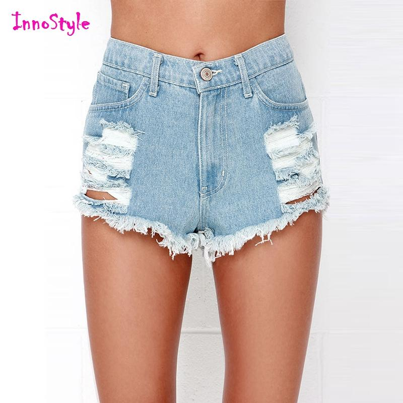 2017 Blue Denim Ripped Shorts For Womens Damaged Vintage Denim ...
