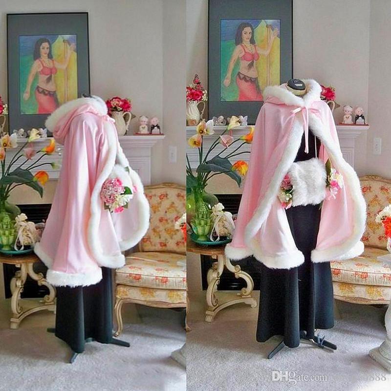 HOT Warm Bridal Cape Wraps Custom Made Winter Wedding Cloak Cape Hooded with Fur Trim Short Bridal Wraps Winter Jacket Coat for Bride