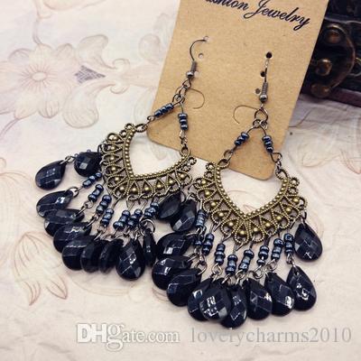 Buy 3 Got 1 Free Bohemia Earrings Vintage Tibetan Silver Bronze Resin Gem Drop Earings Dangle Earrings Wholesale Jewelry For Women