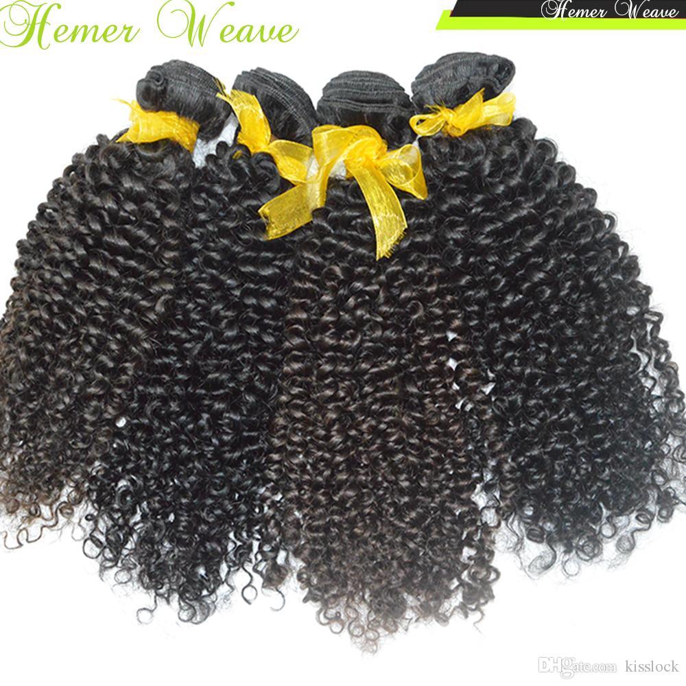 8A África Americano Beleza Negra Afro Crespo Encaracolado Peruano Virgem Cabelo Weave 3 pçs / lote Natural Enrolado Ondas