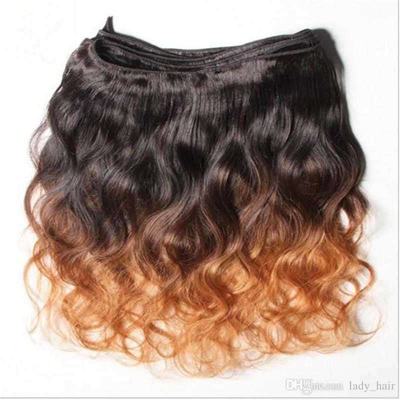 버진 말레이시아 바디 웨이브 물결 모양의 머리카락 Wefts # 1B / 4 / 30 다크 루츠 3 톤 컬러 말레이시아 인체 헤어 위브 번들 3 개 로트