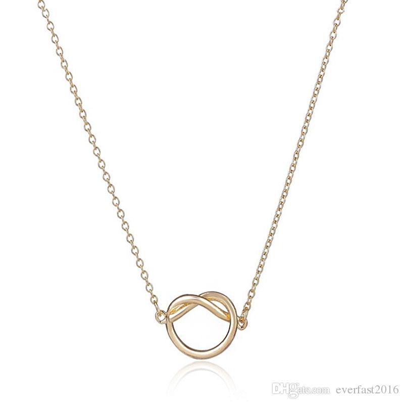 Sıcak Satış Yeni Maxi Yakası Basit Aşk Kalp Düğüm Kolye çift Takı 18 K Altın Ve Gümüş Kaplama Kadınlar Link Zinciri senin meleğin Için