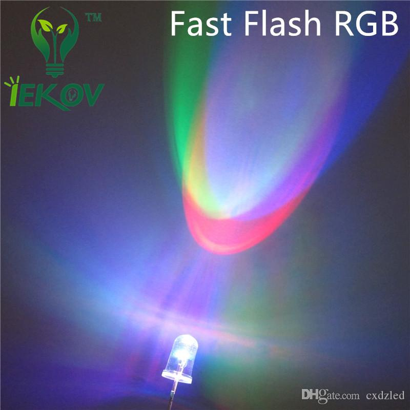 /bag 5MM RGB Fast Flash Red Green Blue LED Rainbow MultiColor Fast change Round Strobe Emitting Diodes LEDs Lamp LIGHT Hot Sale