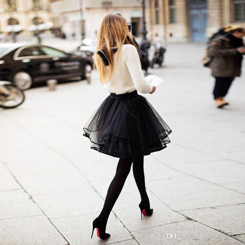 ef78fbb969 2019 Cute Petite Black Tulle Skirts For Women Multi Layer Ribbon Edge Short  Mini Girls Cocktail Party Dresses Tutu Female Adult Skirts From  Yate_wedding, ...
