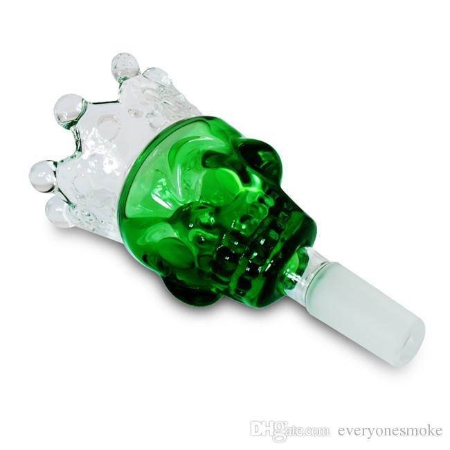 Halter Crown Glass Slide Bowl Ash Catcher Glasteile 14mm 18mm männliche Verbindungswasserrohre Zubehör grün / blau / bernstein / schwarz usw.