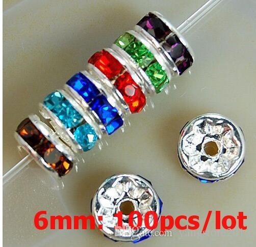 6MM 3A Metal Silver Plated Crystal Rhinestone Rondelle Spacer Beads For Choose Wholesale