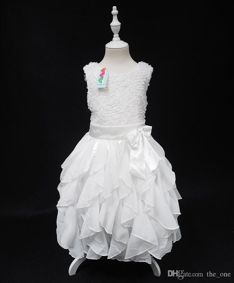 Samgami Baby Baby Mädchen 3D Blume Pailletten Tutu Kleid Kinder Sleeveless Prinzessin Party Kleider Kids Formal Dress free dhl shipping