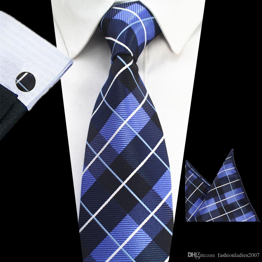 Klasik Erkek Kravatlar setleri 51 Tasarım 100% Ipek Boyun Kravatlar hanky kol düğmesi Erkekler için 8 cm Ekose Çizgili Kravatlar Örgün İş Düğün Gravatas