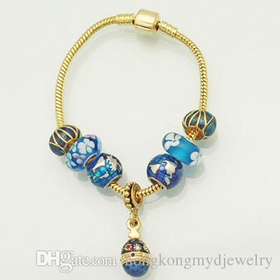 Enameled Blue Earth Shaped Lucky European Charm in Wholesale Large Hole Metal Slide Bead Fit Pandora Bracelet