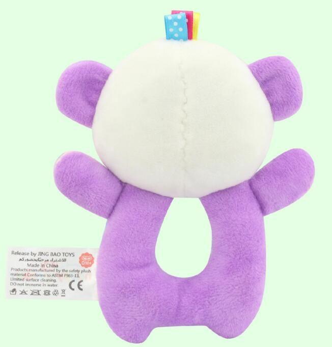 Baby Plush Toys purple Bear Animal Shaped Catoon Hand Bell Ring Rattles Kid Soft Developmental Training Toy