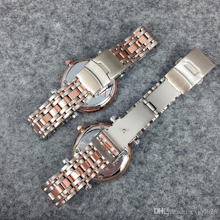 Moda Paslanmaz Çelik Kuvars İzle Man / Kadın Japonya Hareketi Saatler için Gül Altın Saatı Hayat Su Geçirmez Marka Erkek Saat Sıcak Öğeler
