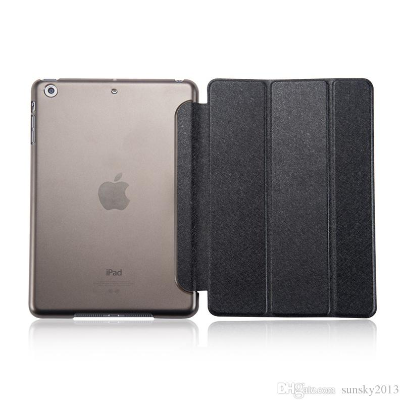 Silk Skin Smart Cover for iPad Mini 2 3 4 Ultral Slim PU Leather Stand Case 9.7 inch iPad Pro iPad Air 2 Folding Transparent Clear Covers