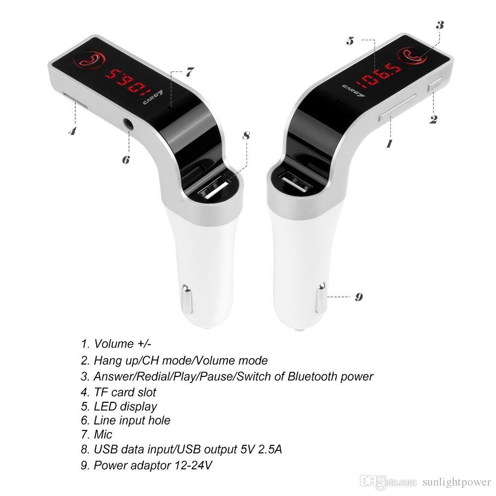 FM Transmitter Multifunktions 4-in-1 CAR Bluetooth mit USB MP3-Player-Flash-Laufwerke TF-Funksender mit LCD-Display USB Mic