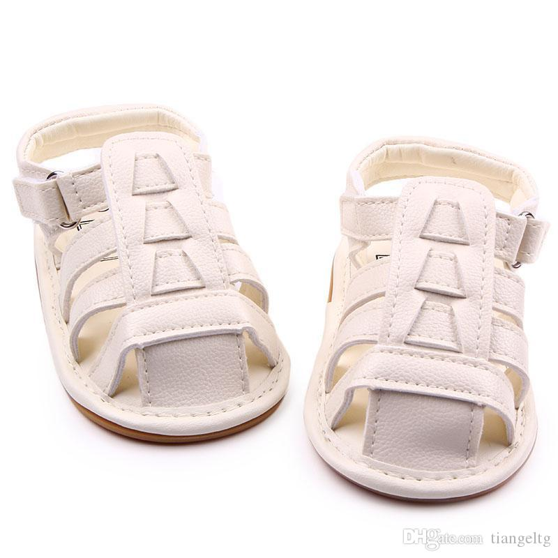 101ccf185661 2019 New Wholesale Soft TPR Hard Sole Baby Shoes PU Leather Gladiator  Sandal Hook Loop Infant Prewalker Wedding Shoes For Girls Boys Zapatos Bebe  From ...