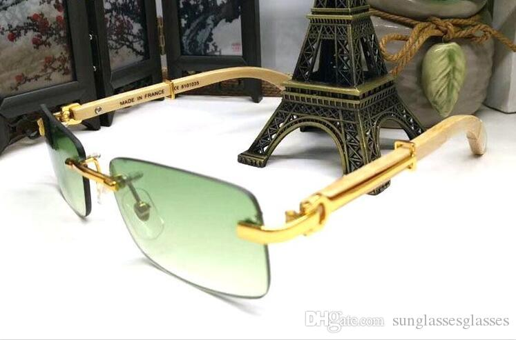 2017 pilot wood brand designer sunglasses for men polarized buffalo horn glasses rimless red green gray brown clear lens with original box