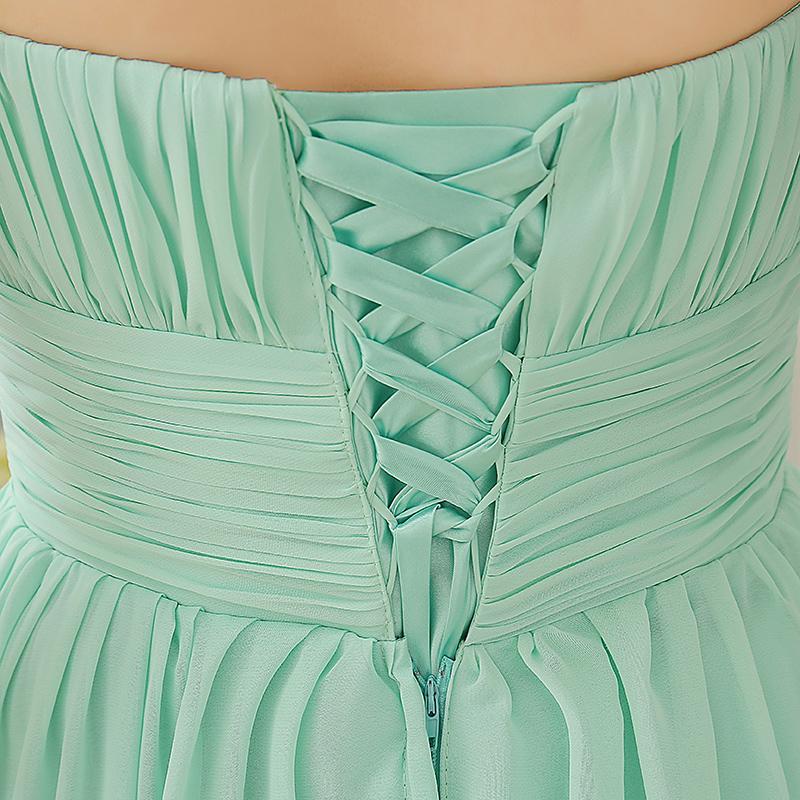 주름 긴 쉬폰 들러리 드레스 민트 그린 2019 바닥 길이 웨딩 파티 드레스 5 스타일 혼합 주문