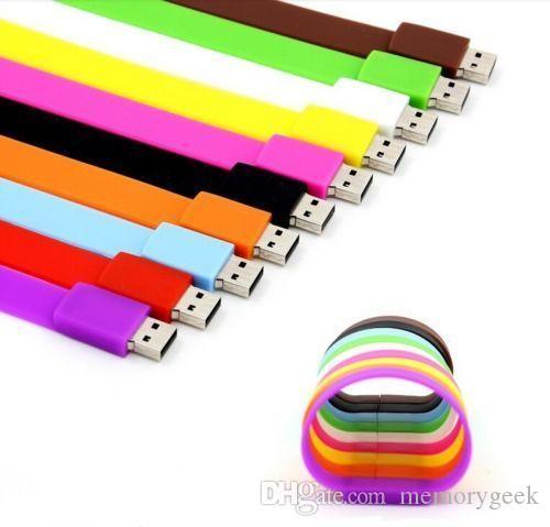 정품 패션 실리콘 팔찌 8GB 16GB 32GB 64GB USB 2.0 플래시 메모리 스틱 펜 드라이브 엄지 U 디스크 32GB 64GB 128GB 256GB