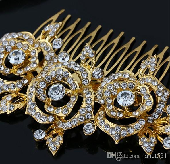 Magnifique Longue Peigne De Mariée 18 K Plaqué Or Rose Cristal Strass Longues Femmes Cheveux Peigne Clip Accessoires De Cheveux De Mariée