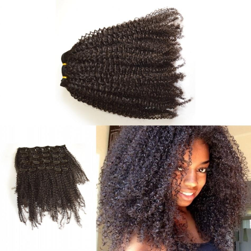 African American Clip In Human Hair Extension Full Head Mongolian
