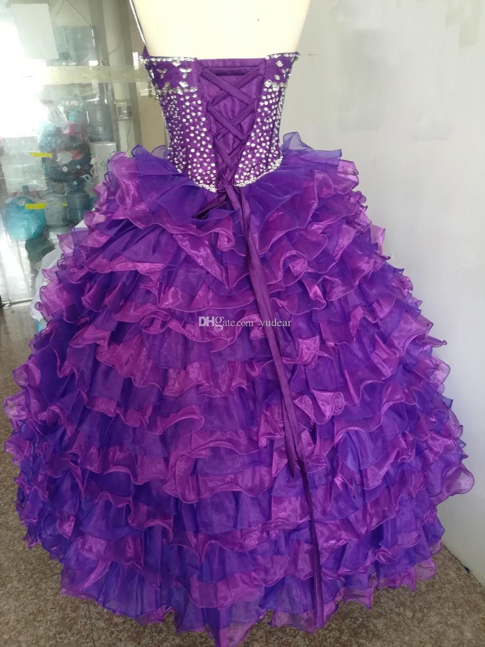 Fashion Cheap Purple 2019 Chic Quinceanera Dresses Sweet 15 Ball Gown Cascading Ruffles Debutante Dresses Draped and Rhinestones Party Gowns