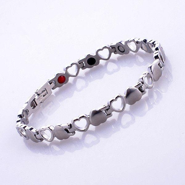 2016 nouveau haute qualité coeur féminin amour magnétique thérapie énergie en acier inoxydable argent santé bracelet bracelet femmes bijoux