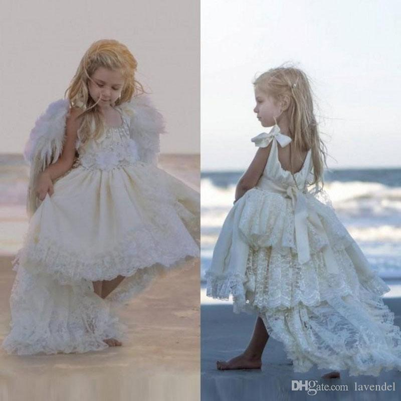 High Low Flower Girls Dresses Ivory For Wedding Layers Lace Pearls Ribbon 2018 Beach Spring Pageant Kids First Communion Dress