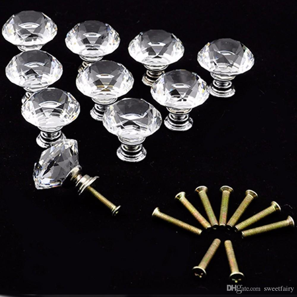 20 шт. / лот 30 мм ромбовидный Кристалл стеклянный шкаф ручка шкаф ящик ручка тянуть Оптовая TK0636