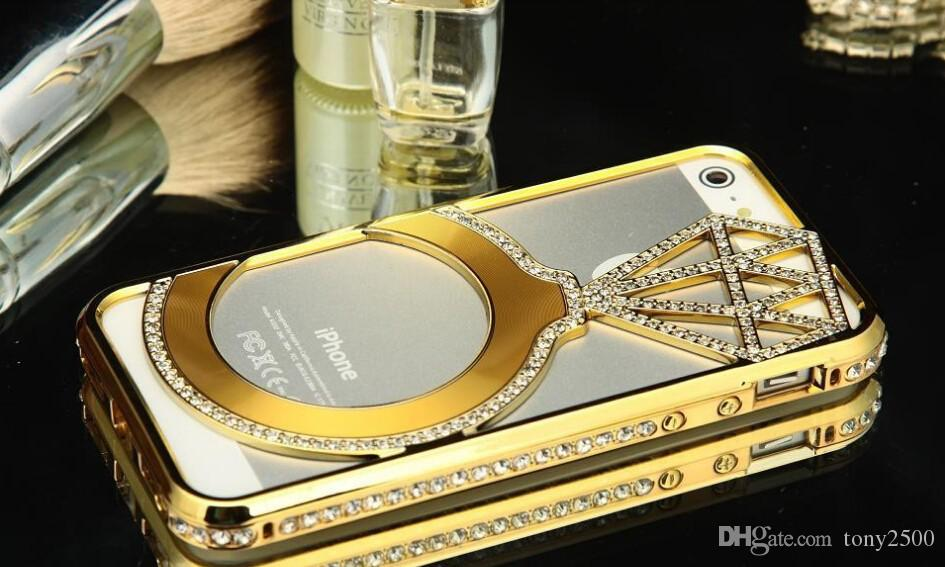 For iphone 6 Plus 5 5S Luxury Diamond Star Rhinestone Bumper Bling Crystal Aluminium Metal Frame Case Cover