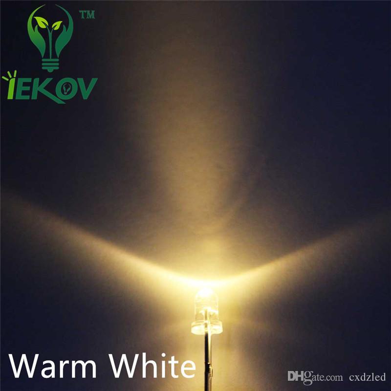 1000 pz / borsa 3 MM Round Top Warm White leds Urtal Lampadina Luminosa Led Lampada 3mm Emissione Diodi Componenti Elettronici All'ingrosso Vendita Calda