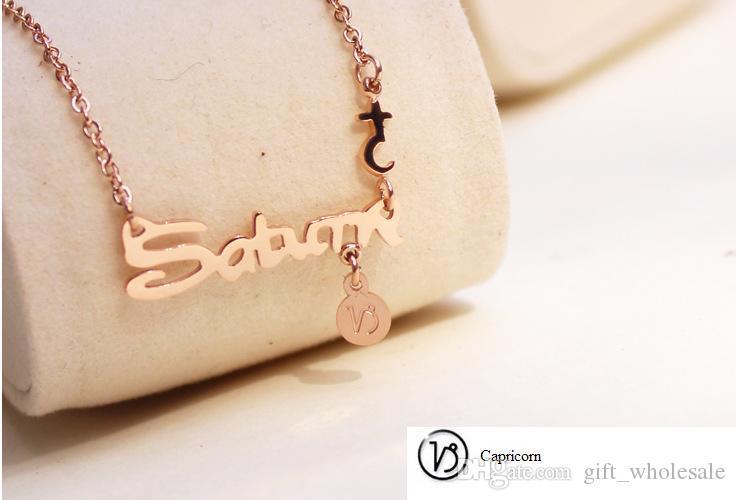 Joyería de acero de titanio de moda 12 signos del zodiaco constelaciones carta colgantes, collar de mujer coreana señoras gargantillas suéter mezcla de cadena