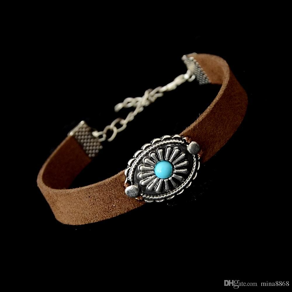 Handmade Braid Vintage Black Coffee Genuine Leather Bracelet for Woman Femme Bracelet Men Turquoise Charm Bracelets Bangles Jewelry CXB039