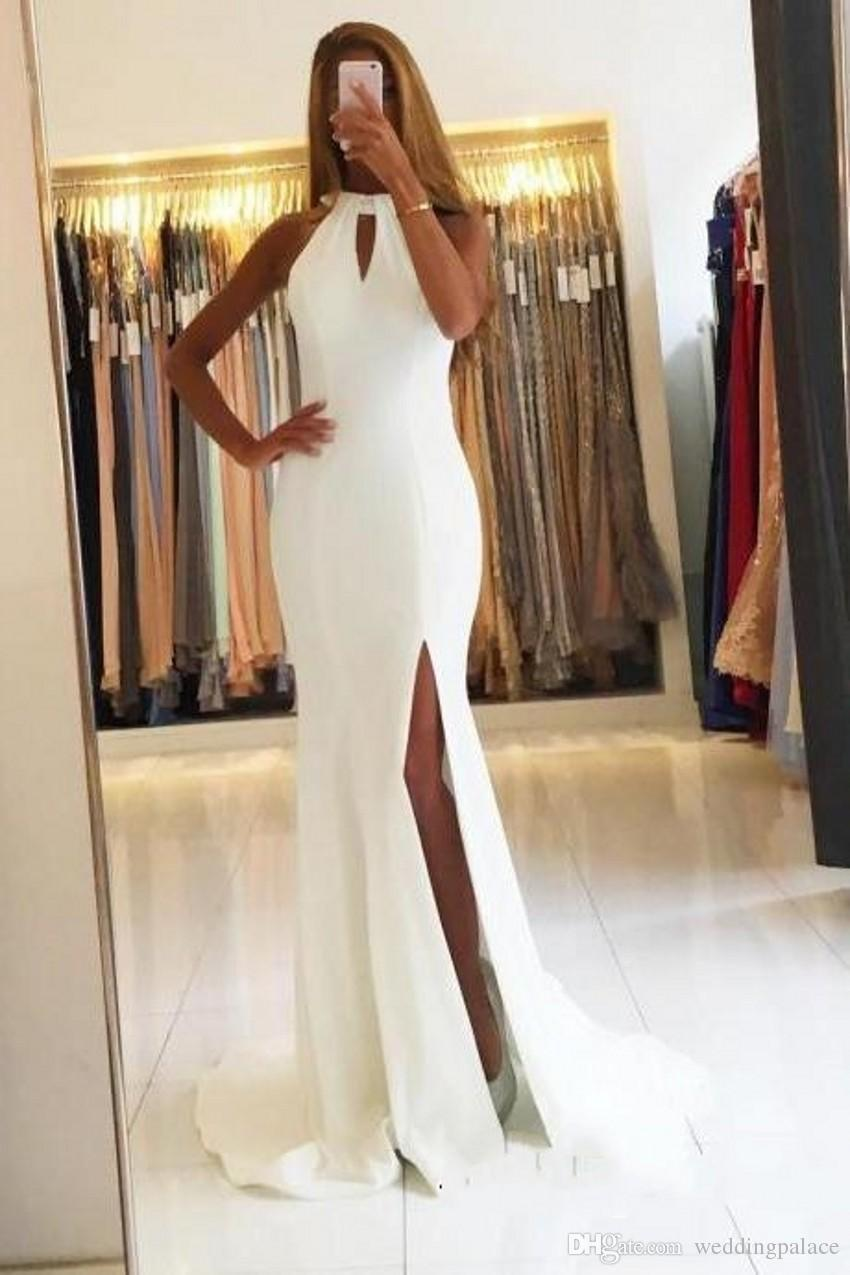 Classic High Neck White Mermaid Long Evening Dresses Side Split Backless Satin Formal Evening Gowns Prom Party Dresses Vestido De Noche