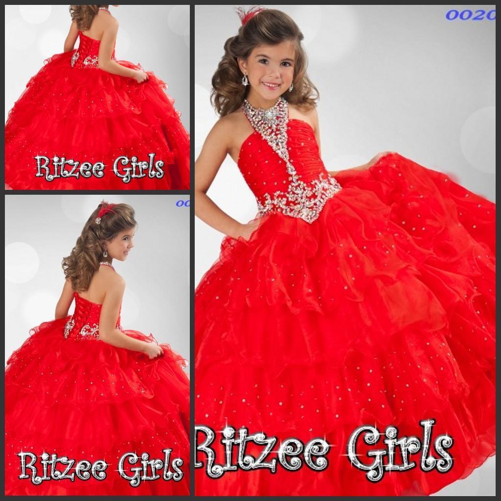 2016 Ritzee Red Girls Beading Ruffle Pageant Dress Halter Organza ...