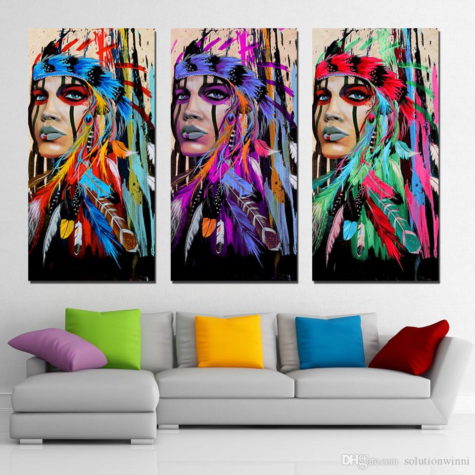 97675b44f99 2019 3 Panels Canvas Art Native American Indian Feather Home Decor Wall Art  Painting Canvas Prints Pictures For Living Room Poster Decoracion From ...