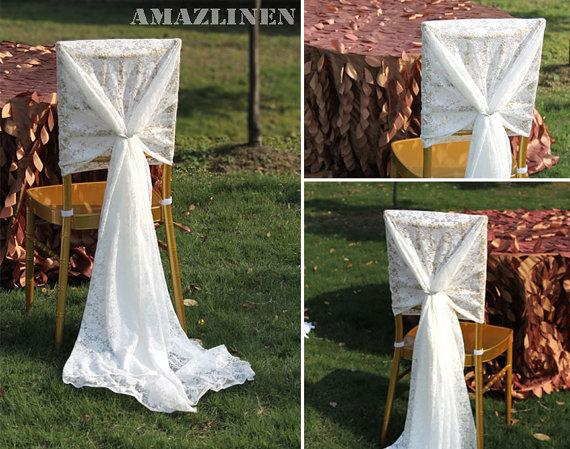 Custom Made 2016 Feminine White Lace Chair Covers Vintage Chair Sashes Romantic Wedding Decorations Wedding Supplies