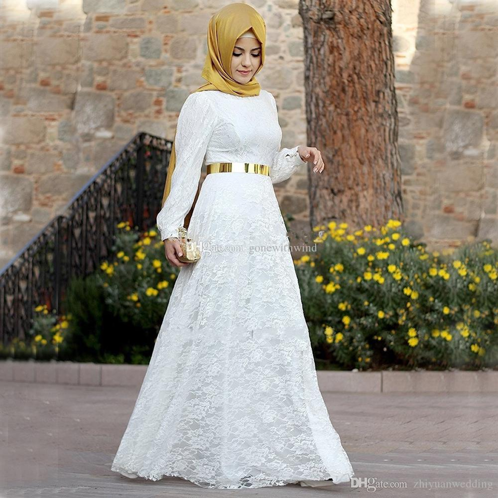 Chiffon Hijab White Lace Indian Muslim Evening Dresses