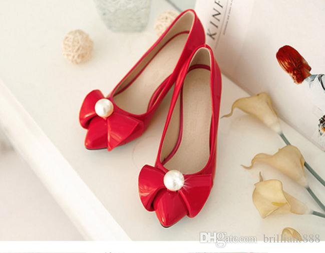 2017 spring and Autumn Period Single shoes female With crude Work leather shoes Large size High-heeled Sweet Pearl bowknot shoes