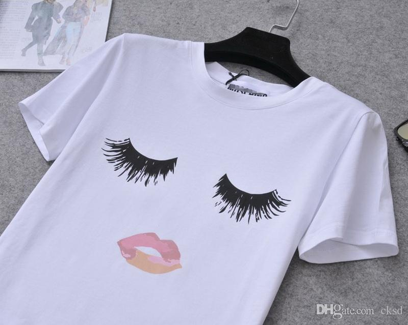 Moda sexo LIP Eyelash imprimir camisetas para mujeres tops más el tamaño de la que negro crop tops divertido imprimir manga corta camiseta WT20 WR