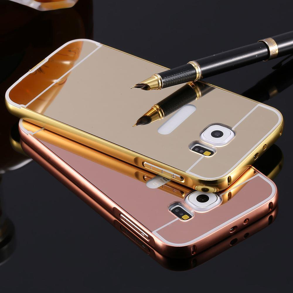 best service 553a5 6fd49 Luxury Electroplating Mirror Case For Samsung Galaxy S7/ S7 edge Hard PC +  Aluminum Acrylic Gold Frame Back Cover For Galaxy S7