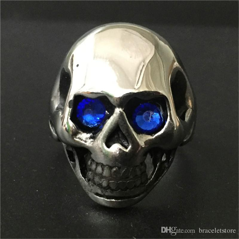 Polishing Crystal Eyes Ghost Skull Ring 316L Stainless Steel Fast Shipping Band Party Biker Skull Ring
