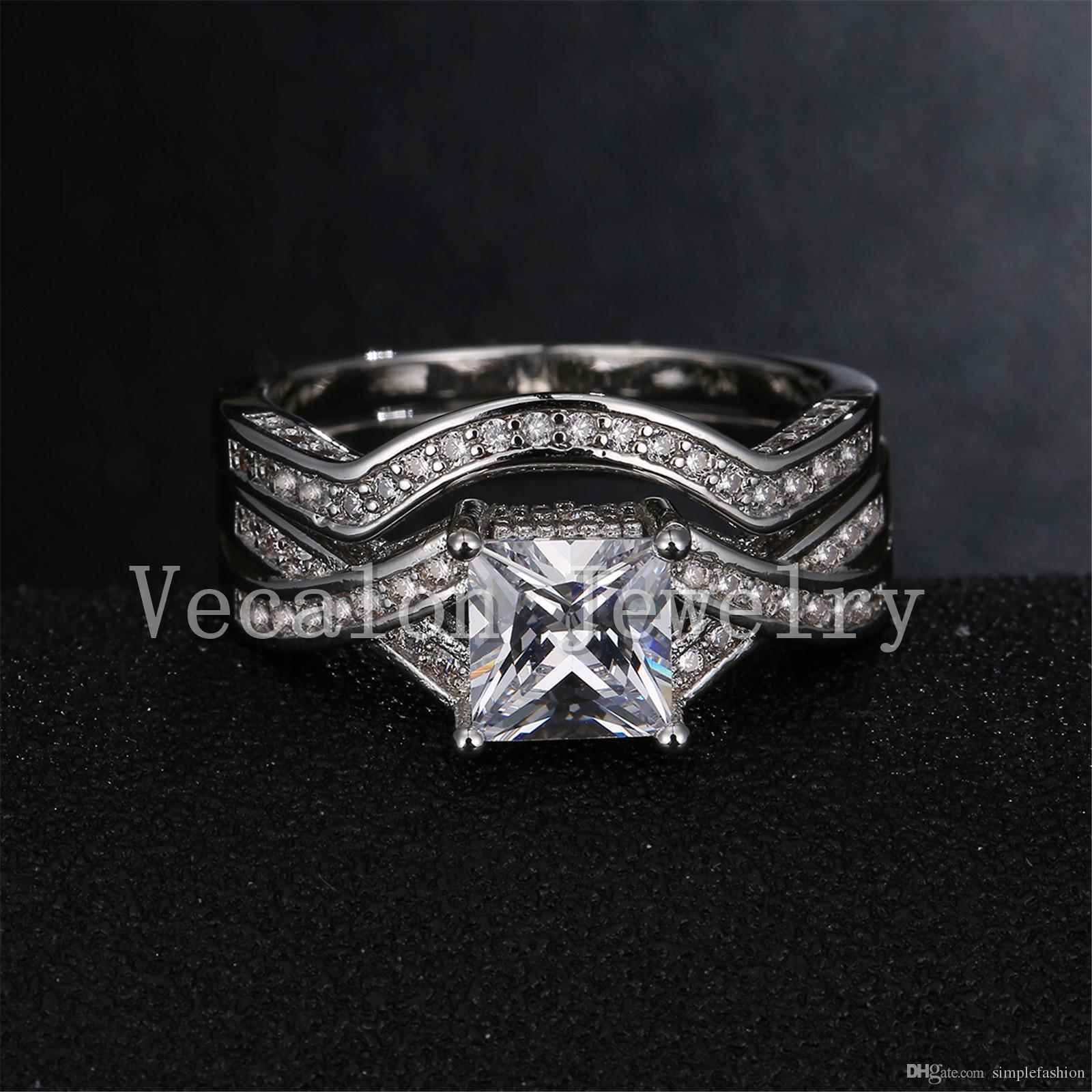 Vecalon Brand 2016 New Princess cut 2ct Cz diamante simulato 10KT oro bianco Filled Fidanzamento Wedding Ring Set le donne